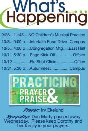 9/28 11:45 NO Children's Musical Practice 10/5 9:00 a Interfaith Food Drive Campus 10/5 4:00