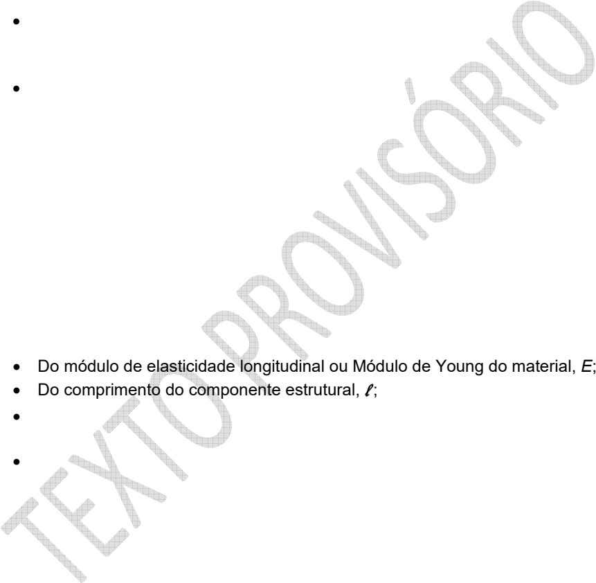    Do módulo de elasticidade longitudinal ou Módulo de Young do material, E;