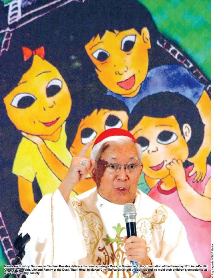 Manila Archbishop Gaudencio Cardinal Rosales delivers his homily during a Mass on November 8, the culmination