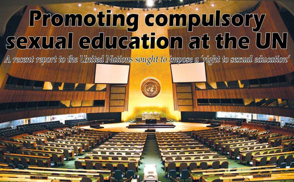 Promoting compulsory sexual education at the UN A recent report to the United Nations sought to