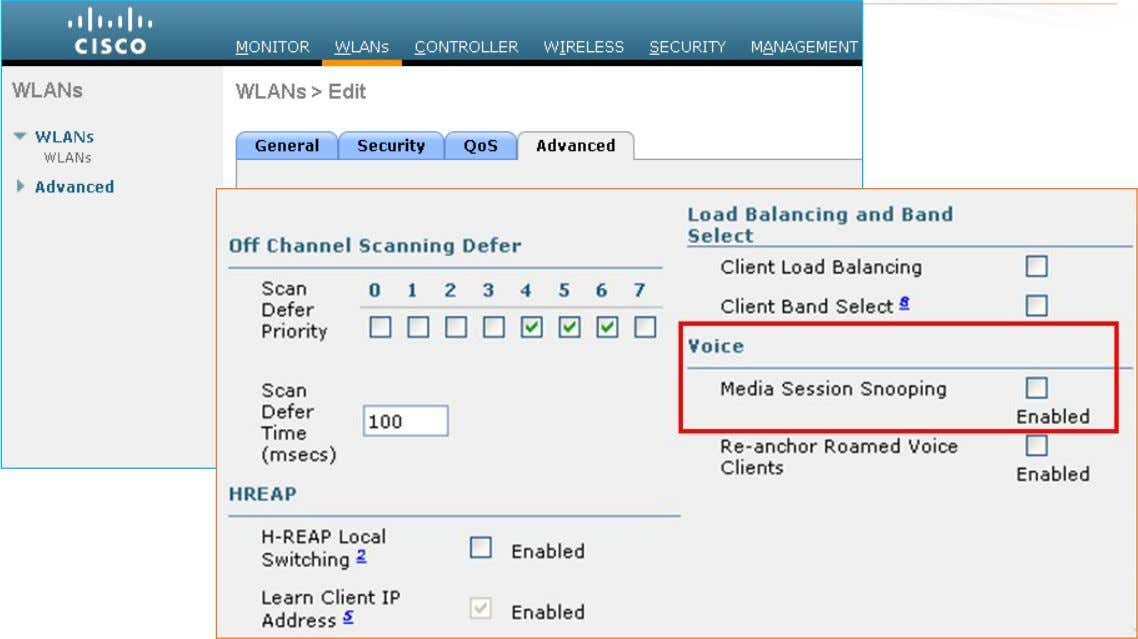 WLAN – Advanced Settings • For VoIP Snooping and VoIP Reporting enable this option. BRKEWN-2000 ©