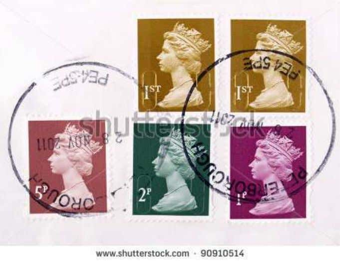 Stamps • Symbols of the Royal origins of the UK's postal system remain. A miniature silhouette