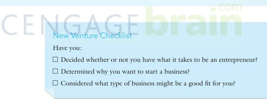 New Venture Checklist Have you: Decided whether or not you have what it takes to