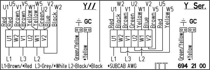 Y serial or Y parallel connection, with terminal board 6-leads, Y, D or Y/D connection, with