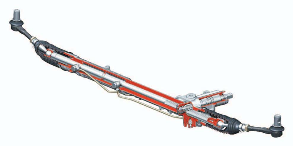 Steering System Steering Mechanism The steering mechanism consists of a rack and pinion with mounting brackets,