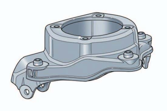 Front Axle Mounting Bracket The mounting bracket is made of Poral cast aluminum. It is bolted