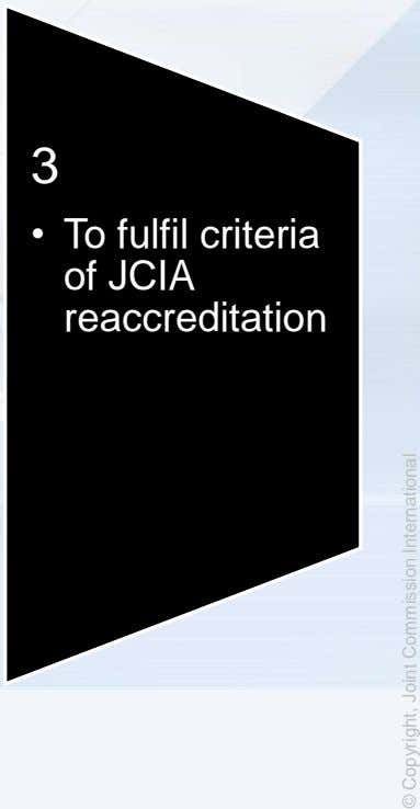 3 • To fulfil criteria of JCIA reaccreditation © Copyright, Joint Commission International