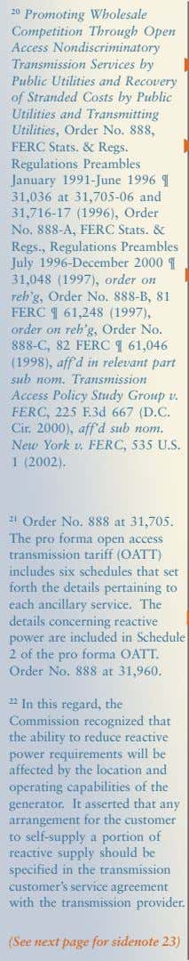 20 Promoting Wholesale Competition Through Open Access Nondiscriminatory Transmission Services by Public Utilities and