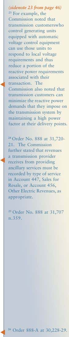 (sidenote 23 from page 46) 23 For example, the Commission noted that transmission customerswho control