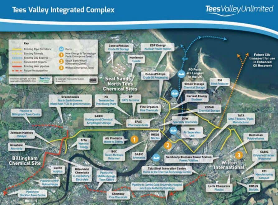 Post-Combustion Carbon Capture and Storage in Industry 43 Fig. 4.2 Teeside collective complex showing the potential
