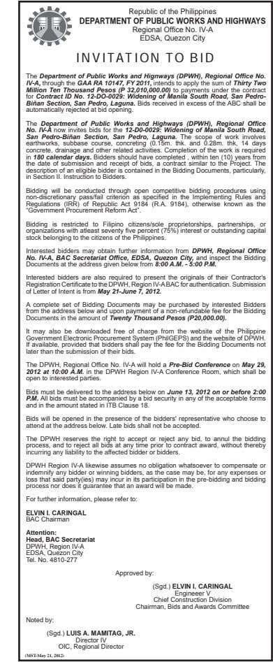 Republic of the Philippines DEPARTMENT OF PUBLIC WORKS AND HIGHWAYS INVITATION TO BID The IV-A,