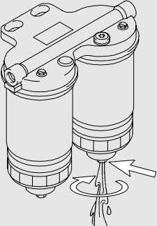 If in doubt stop the engine to change the fuel filter. Continuous operation (both filter halves