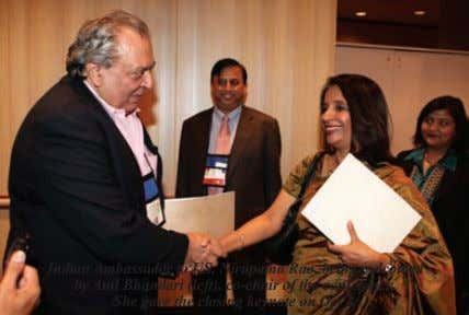 Indian Ambassador to US, Nirupama Rao, being welcomed by Anil Bhandari (left), co-chair of the conference.