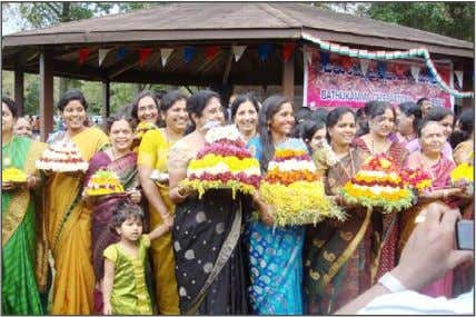 Association celebrates Bathukamma festival New Jersey Telangana Women with their Bathukammas denoting goddess Gauri. the gathering