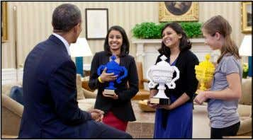 Obama meets two Indian American winners of Google Science fair President Obama congratulates Google Science Fair