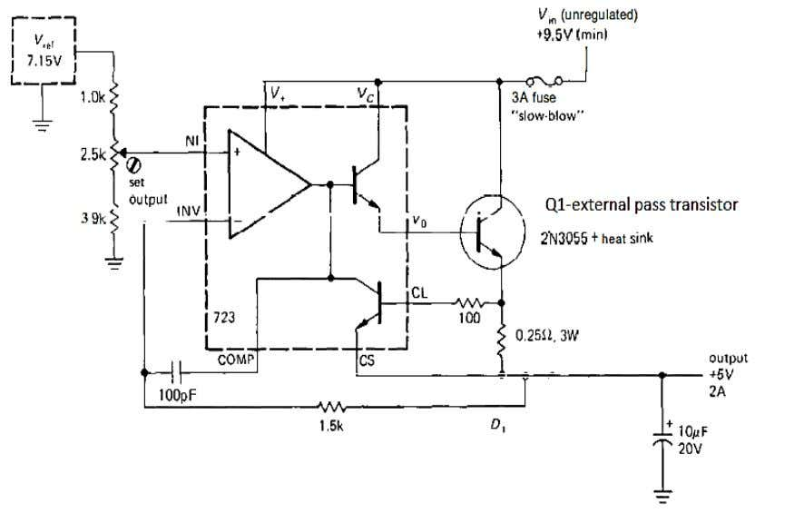 is added as a Darlington pair with the internal transistor . CIRCUIT OF POWER SUPPLY USING