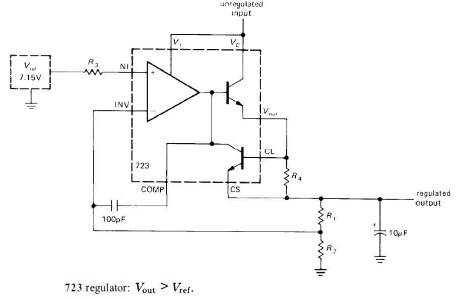 voltage'' is 3 volts (minimum) for the 723 NEGATIVE REGULATOR Figure below shows how to make