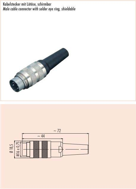 Kabelstecker mit Lötöse, schirmbar Male cable connector with solder eye ring, shieldable ~ 72 ~