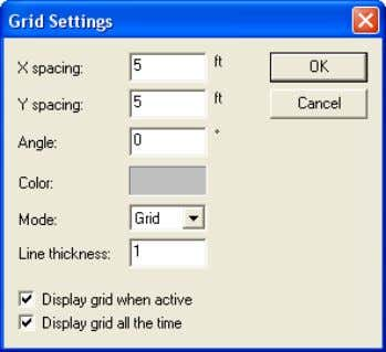 window opens ( Fig.1-1 ). Select 5 ft spacing and click OK. FIGURE 1-1 GRID SETTING