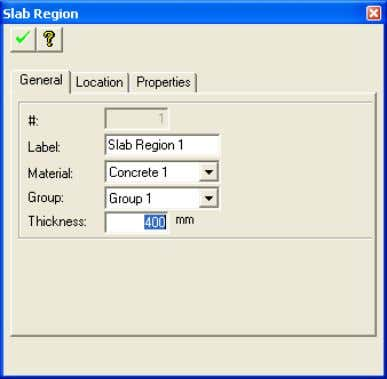 Chapter 6 TUTORIAL FIGURE 1-4 SLAB REGION PROPERTY WINDOW  Click on the Create Column tool