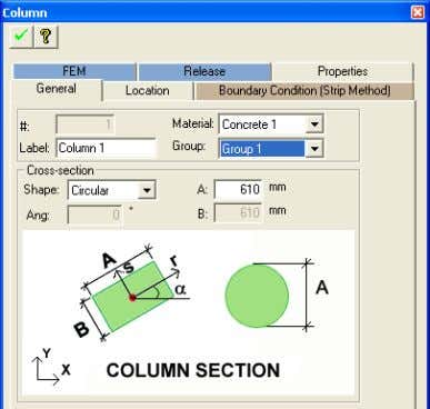 TUTORIAL Chapter 6 FIGURE 1-5 COLUMN PROPERTY DIALOG BOX  Click on the Create Wall tool