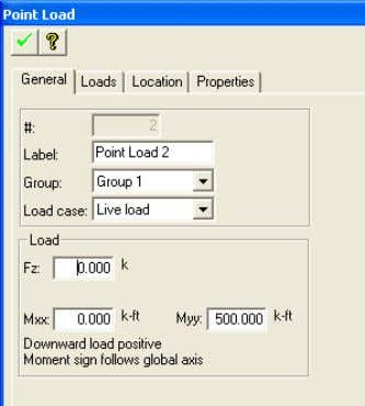 TUTORIAL Chapter 6 FIGURE 5-2 LOAD PROPERTY DIALOG BOX FIGURE 5-3 PLAN VIEW SHOWING LOAD 5.2.