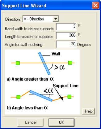it. Otherwise, the support line will pass along the wall. FIGURE 10-1 DIALOG BOX OF SUPPORT