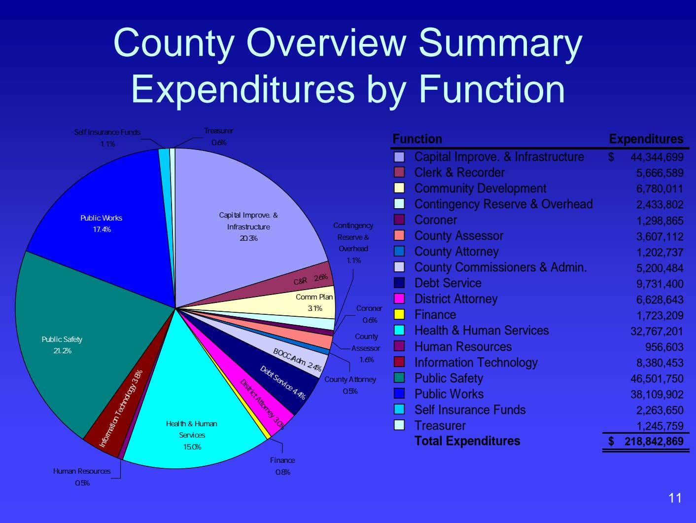 County Overview Summary Expenditures by Function Self Insurance Funds Treasurer Function Expenditures 1.1% 0.6% $