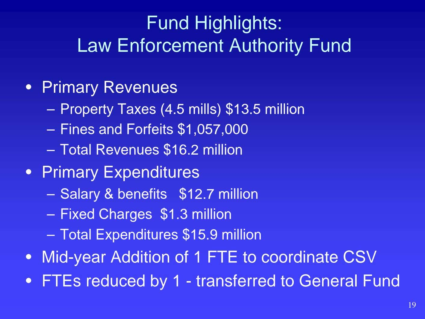 Fund Highlights: Law Enforcement Authority Fund • Primary Revenues – Property Taxes (4.5 mills) $13.5