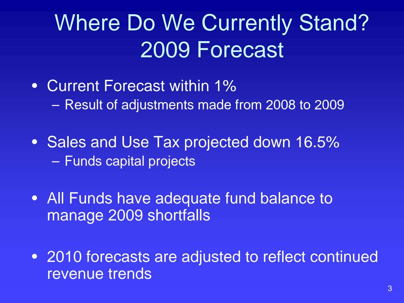 Where Do We Currently Stand? 2009 Forecast • Current Forecast within 1% – Result of