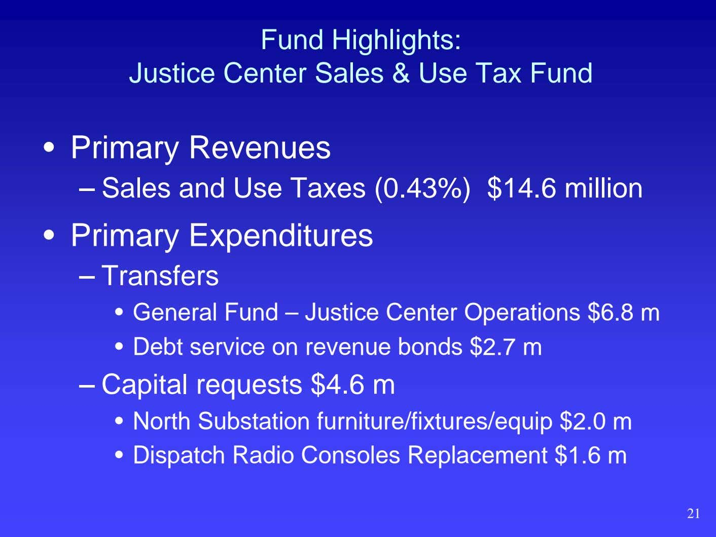 Fund Highlights: Justice Center Sales & Use Tax Fund • Primary Revenues – Sales and