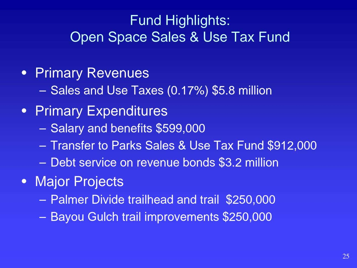 Fund Highlights: Open Space Sales & Use Tax Fund • Primary Revenues – Sales and