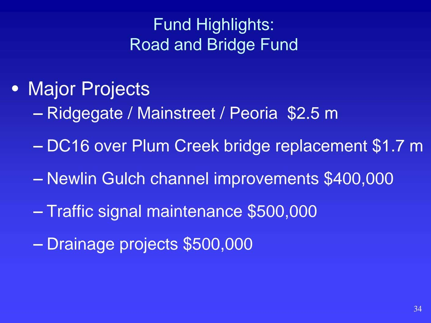 Fund Highlights: Road and Bridge Fund • Major Projects – Ridgegate / Mainstreet / Peoria