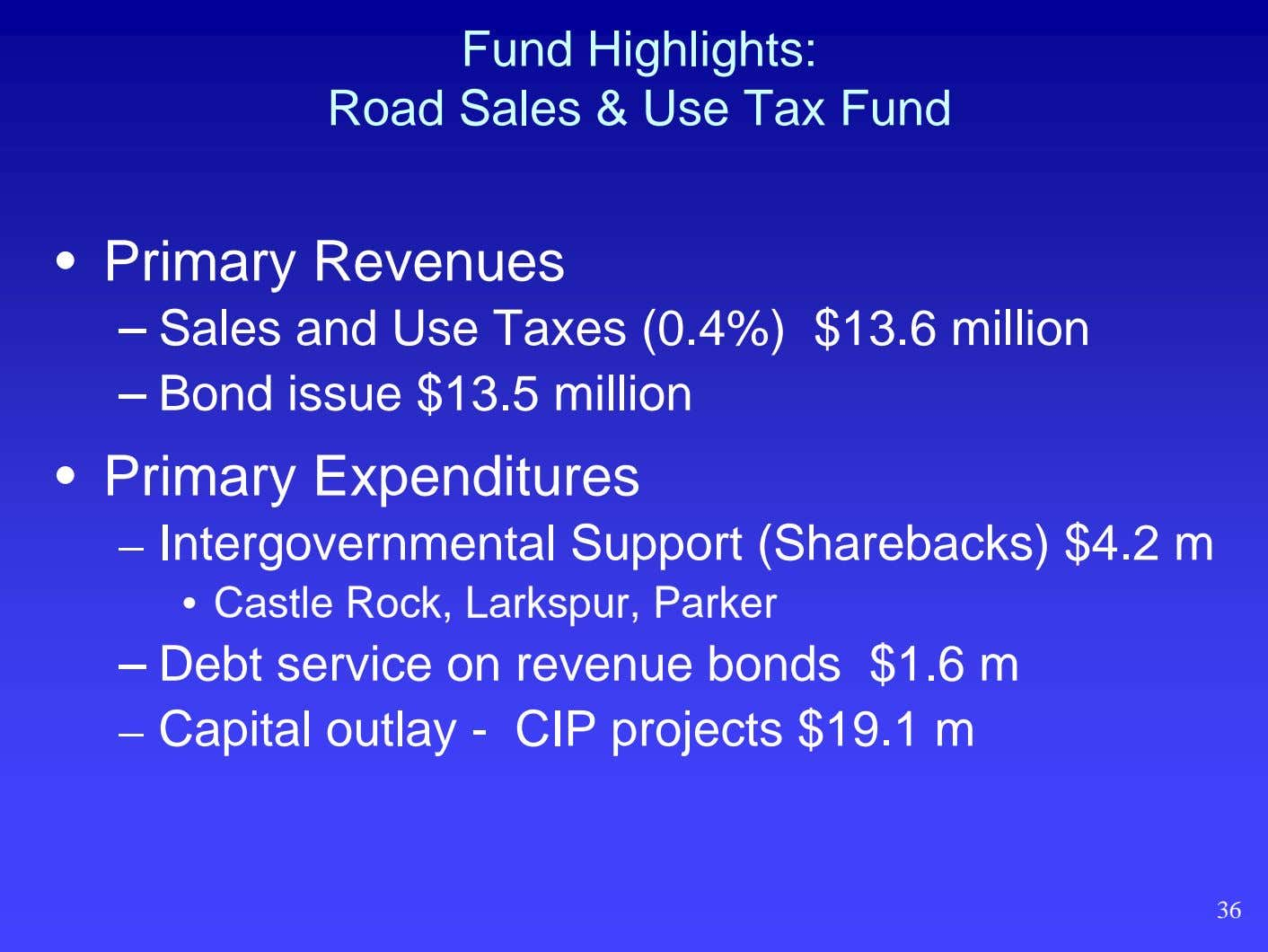 Fund Highlights: Road Sales & Use Tax Fund • Primary Revenues – Sales and Use