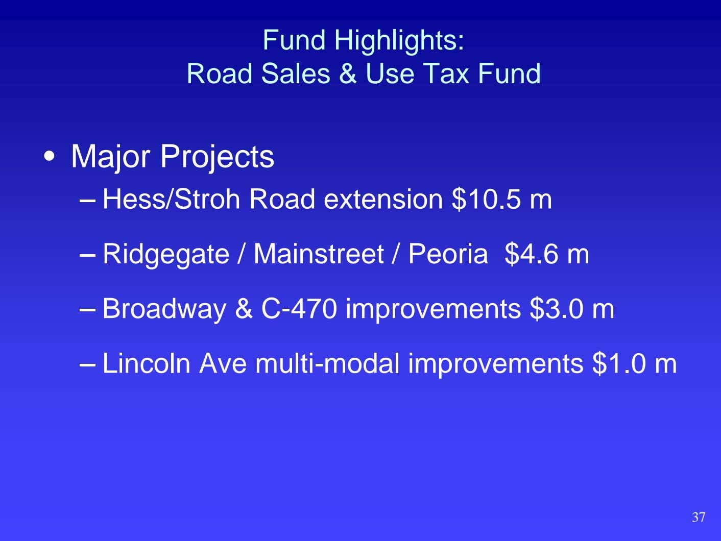 Fund Highlights: Road Sales & Use Tax Fund • Major Projects – Hess/Stroh Road extension