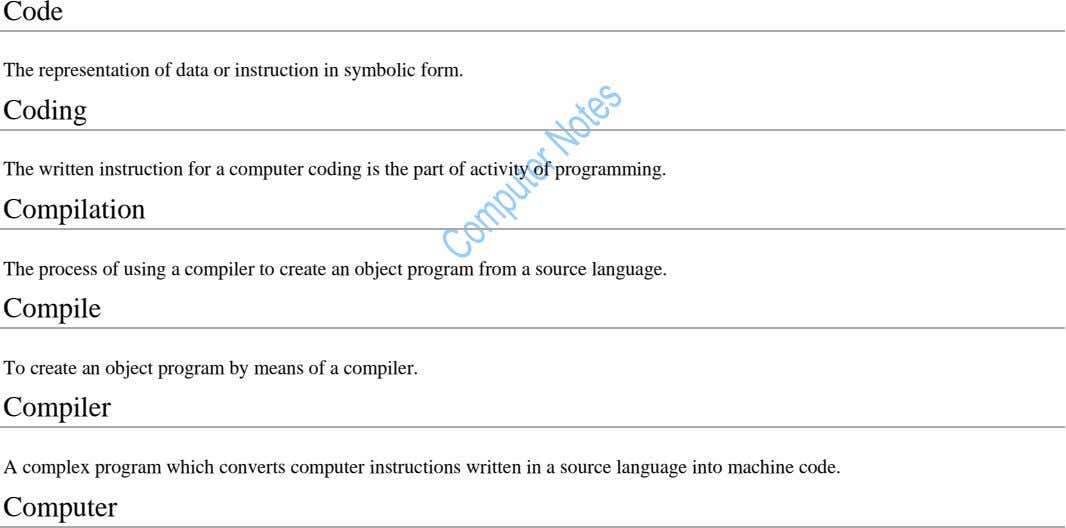 Code The representation of data or instruction in symbolic form. Coding The written instruction for a