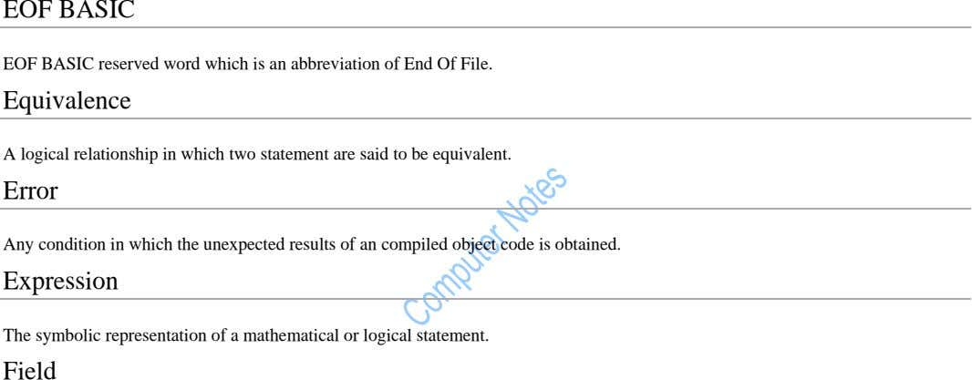 EOF BASIC EOF BASIC reserved word which is an abbreviation of End Of File. Equivalence A