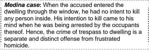Medina case: When the accused entered the dwelling through the window, he had no intent