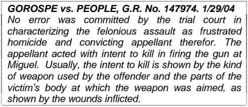 GOROSPE vs. PEOPLE, G.R. No. 147974. 1/29/04 No error was committed by the trial court
