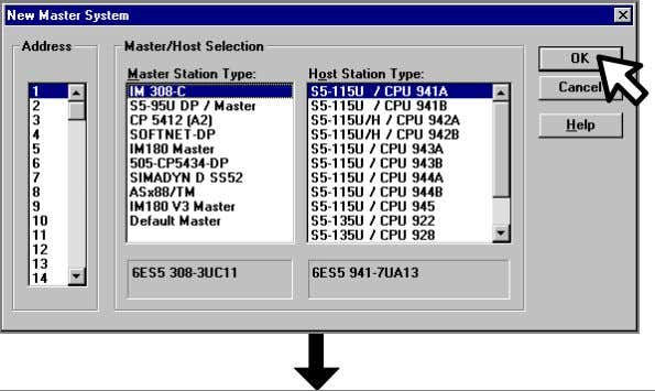 PROFIBUS software and install / import the supplied GSD file Select the Master Station Type from