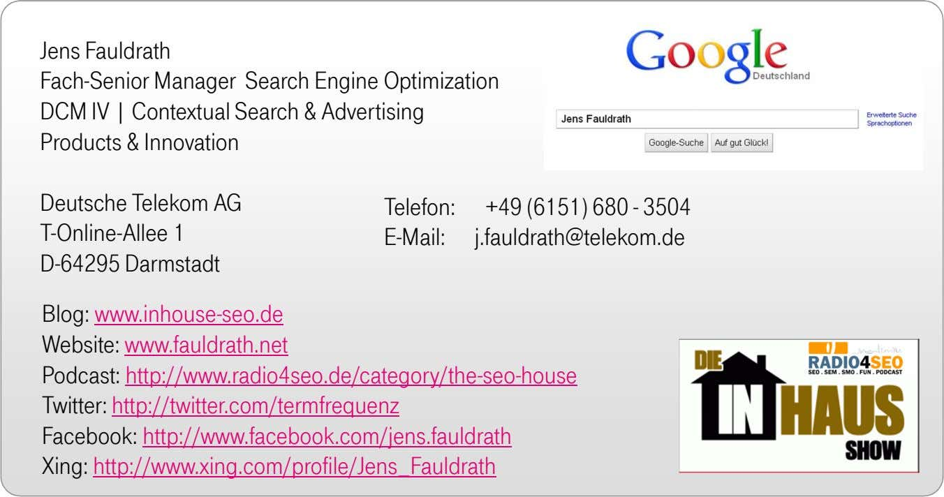 Jens Fauldrath Fach-Senior Manager Search Engine Optimization DCM IV | Contextual Search & Advertising Products