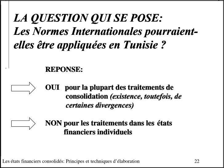 LALA QUESTIONQUESTION QUIQUI SESE POSE:POSE: LesLes NormesNormes InternationalesInternationales pourraientpourraient--