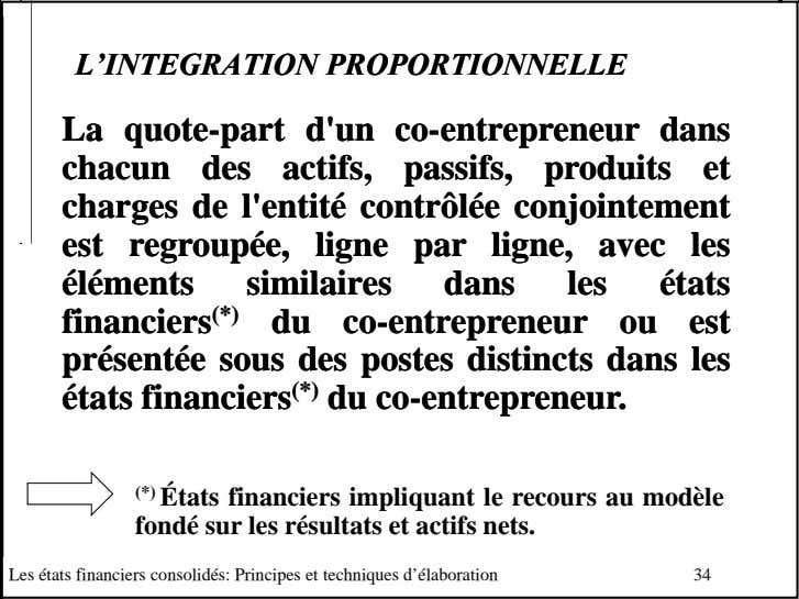 L'INTEGRATIONL'INTEGRATION PROPORTIONNELLEPROPORTIONNELLE LaLa quotequote--partpart d'und'un