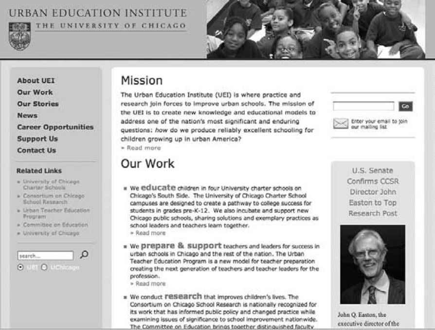 Institutions as Mobilizing Networks 133 Figure 5.1 Screenshot of the home page of the Urban Education