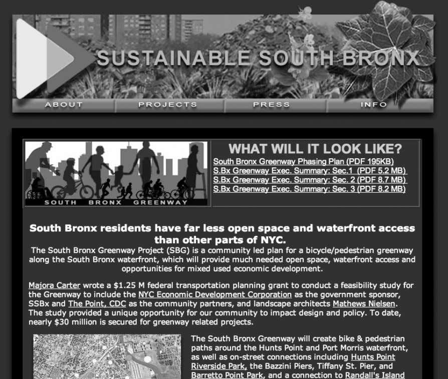 134 Chapter 5 Figure 5.2 Screenshot of the Sustainable South Bronx project ( http://www.ssbx. org/greenway.html ,