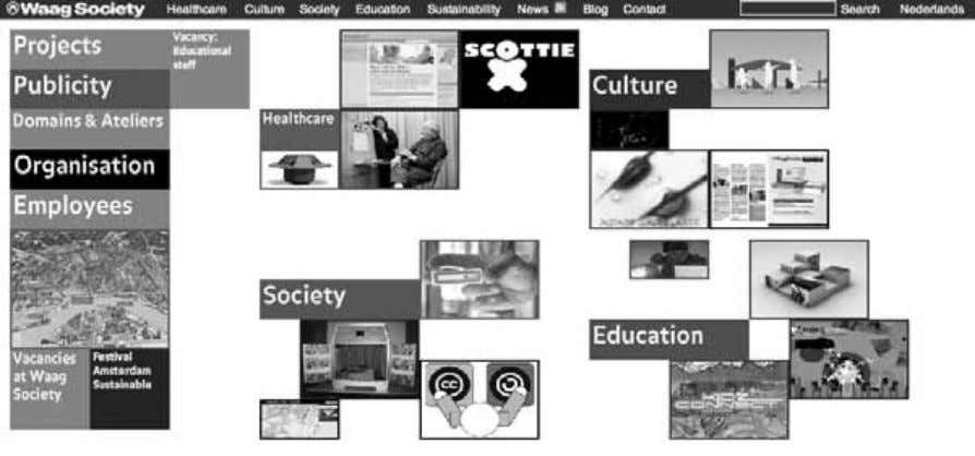Institutions as Mobilizing Networks 135 Figure 5.3 Screenshot of the home page for the Waag Society