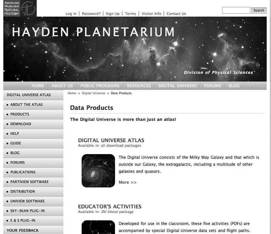 Institutions as Mobilizing Networks 137 Figure 5.4 Screenshot of Hayden Planetarium's Digital Universe Atlas (