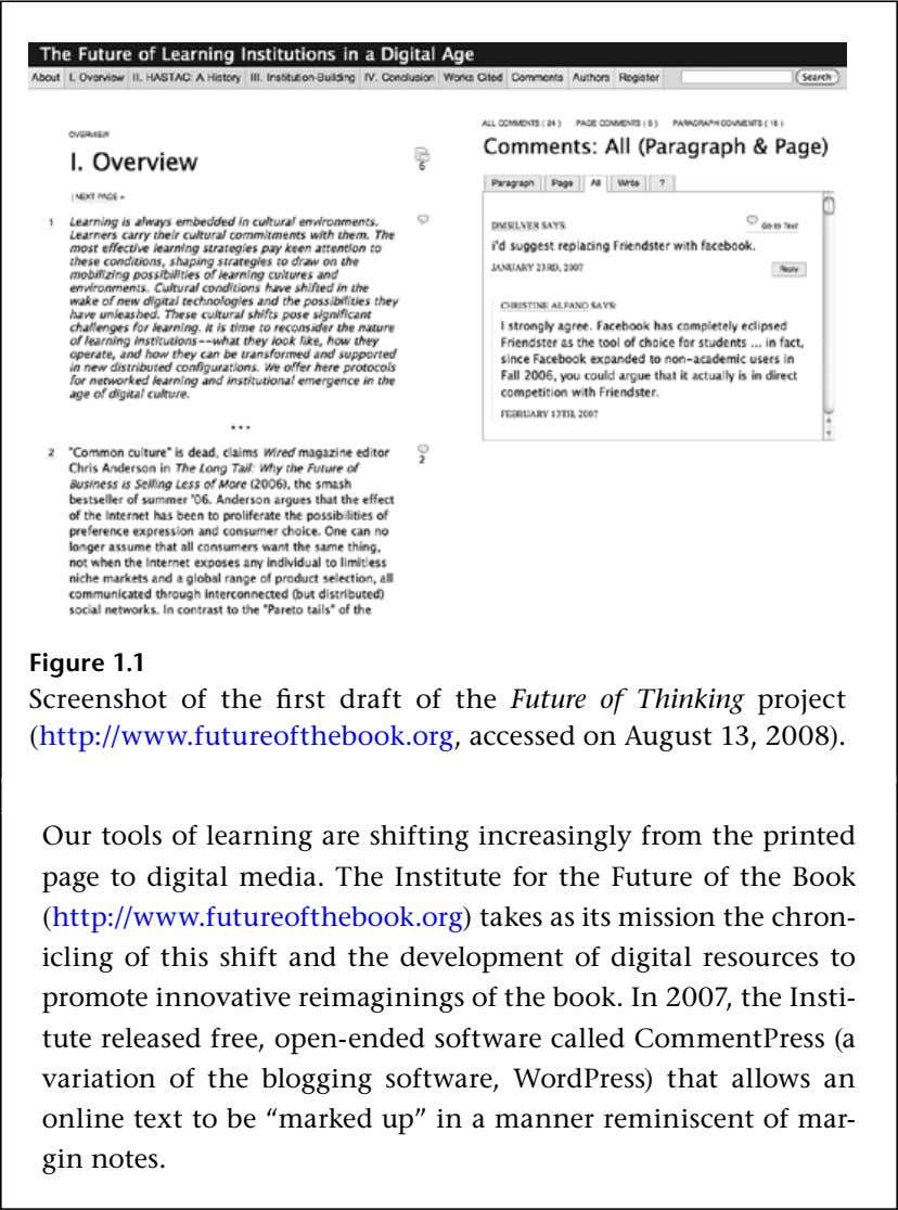 Figure 1.1 Screenshot of the first draft of the Future of Thinking project (http://www.futureofthebook.org, accessed