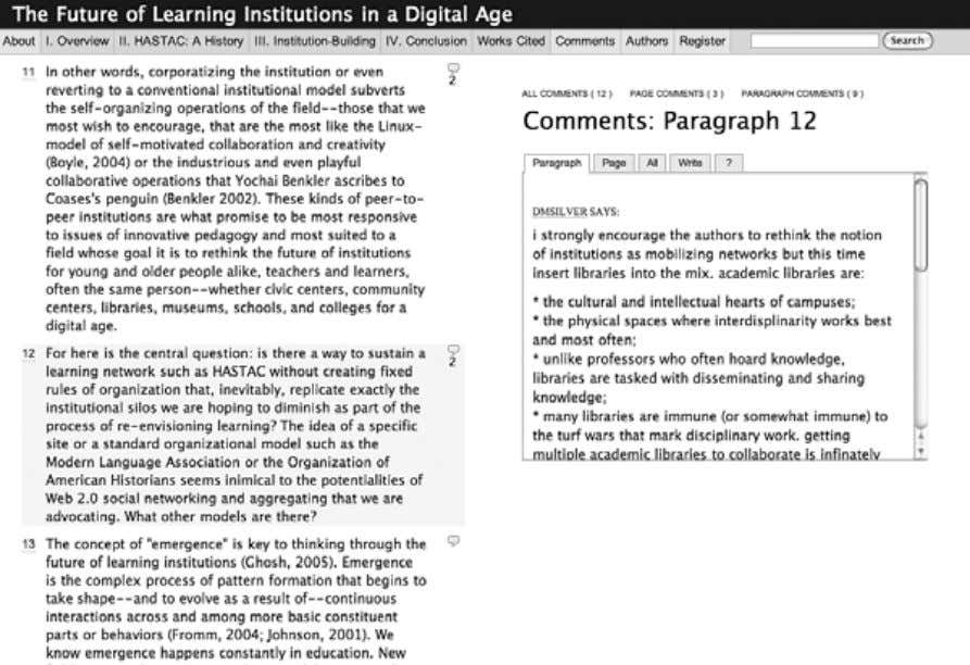 12 Chapter 1 Figure 1.3 Screenshot of the Institute for the Future of the Book Web