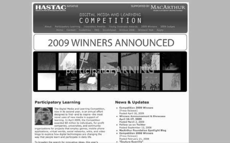 Introduction and Overview 19 Figure 1.4 Screenshot of the first Digital Media and Learning Competition (